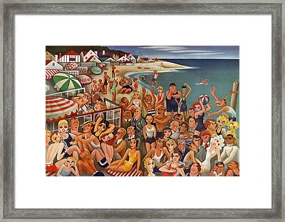 Hollywood's Malibu Beach Scene Framed Print by Miguel Covarrubias