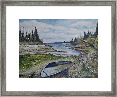 Holmsund Lighthouse Vasterbotten Sweden Framed Print by Enver Larney