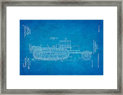 Holt Traction Engine Patent Art 1907 Blueprint Framed Print by Ian Monk