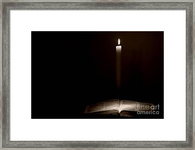 Framed Print featuring the photograph Holy Bible Illuminated by Lincoln Rogers