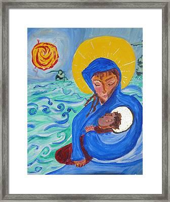 Holy Child And Holy Mom Framed Print by Carolina Liechtenstein