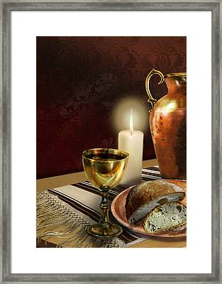 Jewish Table Setting With Bread And Wine Framed Print by Regina Femrite