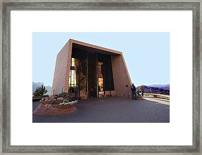 Holy Cross Or Red Rock Chapel Rear View Framed Print by Bob and Nadine Johnston