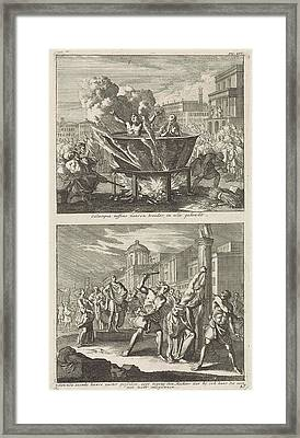 Holy Eulampia And Her Brother Are Boiled Alive In Oil Framed Print by Jan Luyken And Barent Visscher And Jacobus Van Hardenberg