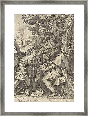 Holy Family, Accompanied By Catherine Of Alexandria Framed Print