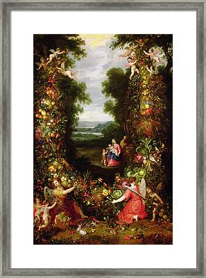 Holy Family In A Landscape With A Garland Of Fruit And Vegetables Panel Framed Print by J. Brueghel