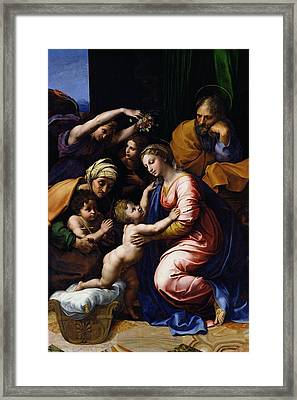 Holy Family Known As The Grande Famille Of Francois I, 1518 Oil On Canvas Framed Print by Raphael