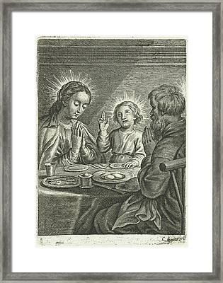Holy Family Praying Before Meals Framed Print