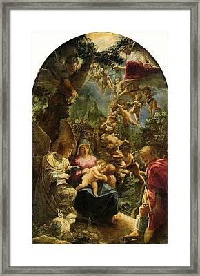 Holy Family With Angels Framed Print by Adam Elsheimer