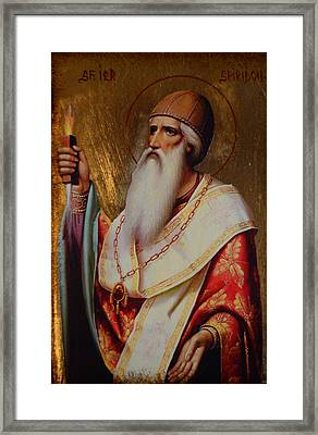 Holy Hierarch St. Spyridon Of Tremithus Framed Print by Claud Religious Art