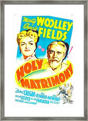 Holy Matrimony, Us Poster, Top Framed Print by Everett