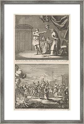 Holy Theodora And Didymus Is Liberated By The Martyrdom Framed Print by Jan Luyken And Jacobus Van Hardenberg And Barent Visscher