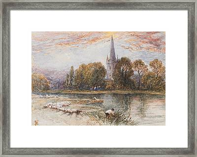 Holy Trinity Church On The Banks If The River Avon Stratford Upon Avon Framed Print by Myles Birket Foster