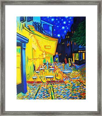 Homage To Master Van Gogh's Terrace At Arles Framed Print by Susi Franco