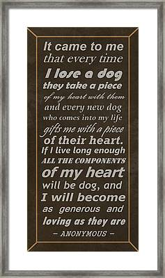 Homage To The Dogs In Our Lives Framed Print by Movie Poster Prints
