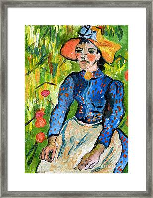 Homage To Vincent Young Women In Straw Hat Sitting In Wheat Field Framed Print by Ginette Callaway