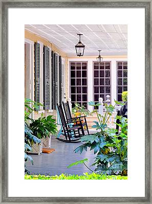 Veranda - Charleston, S C By Travel Photographer David Perry Lawrence Framed Print