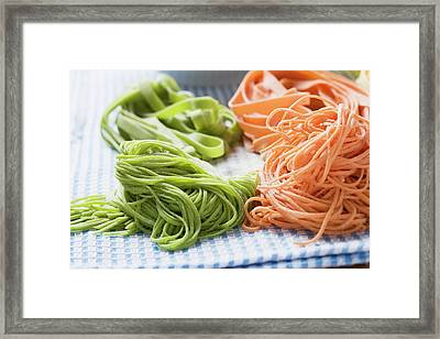 Home-made Red And Green Pasta Framed Print