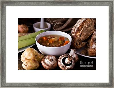 Home Made Soup And Bread Framed Print by Simon Bratt Photography LRPS