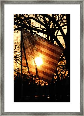 Home Of The Free Because Of The Brave  Framed Print by Jon Baldwin  Art