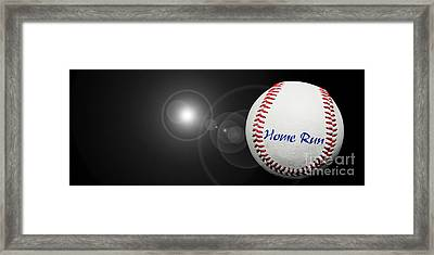 Home Run - Baseball - Sport - Night Game - Panorama Framed Print by Andee Design