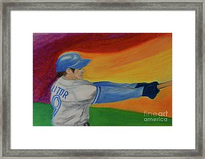 Framed Print featuring the drawing Home Run Swing Baseball Batter by First Star Art