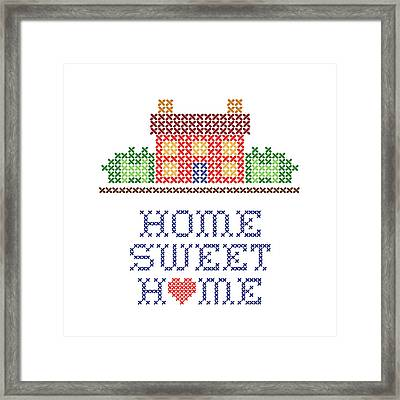 Home Sweet Home Cross Stitch Embroidery Framed Print by J M Designs