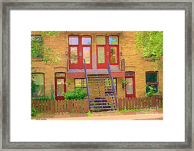 Home Sweet Home Red Wooden Doors The Walk Up Where We Grew Up Montreal Memories Carole Spandau Framed Print by Carole Spandau