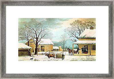 Home To Thanksgiving Framed Print by Currier and Ives