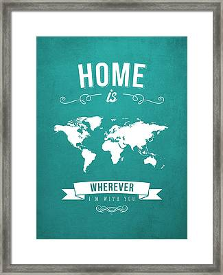 Home - Turquoise Framed Print by Aged Pixel
