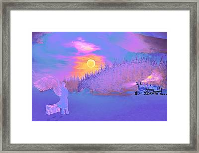 Homebound Train Angel And A Suitcase Framed Print by David Mckinney