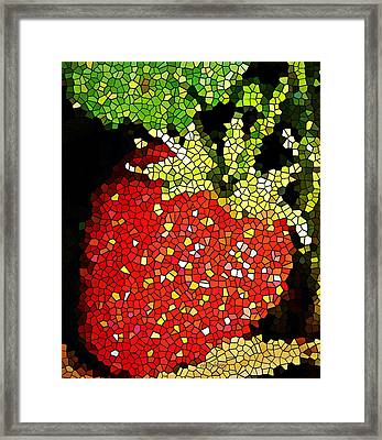 Homegrown Strawberry Mosaic Framed Print by Chris Berry