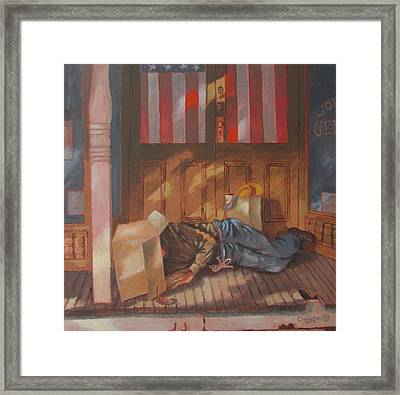 Homeless , Morning Son Framed Print by Tony Caviston