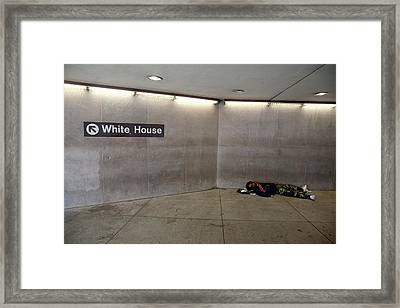 Homeless Man Sleeping Rough Framed Print by Jim West