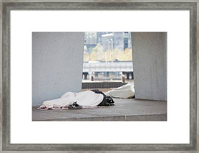 Homeless People Sleeping On The Streets Framed Print