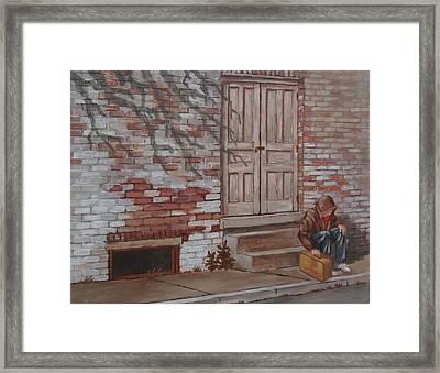 Framed Print featuring the painting Homeless by Tony Caviston