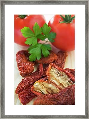 Homemade Sun-dried Tomatoes Framed Print by Nico Tondini
