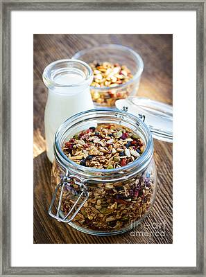 Homemade Toasted Granola Framed Print by Elena Elisseeva