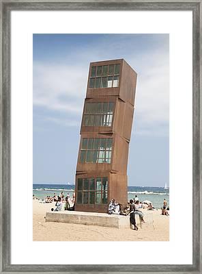 Homenatge A La Barceloneta - Artwork By Rebbeca Horn On A Beach In Barcelona Framed Print by Matthias Hauser