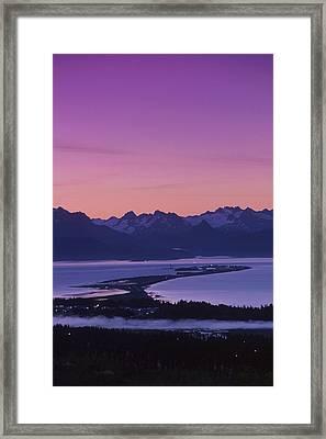 Homer Spit Sunset Kenai Mtns Kenai Framed Print by Jeff Schultz