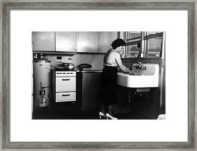 Homestead Kitchen, 1936 Framed Print