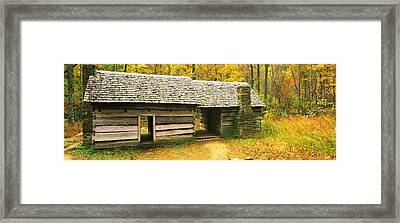 Homestead Log Cabin In A Forest, Great Framed Print by Panoramic Images