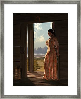 Homestead Woman Framed Print by Daniel Eskridge