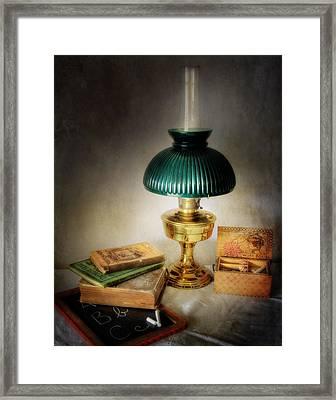 Homework By Lamplight Framed Print
