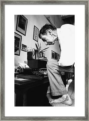 Homi Kharas Photographer Typing Framed Print by Jagdish Agarwal