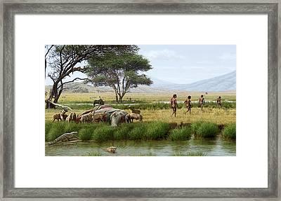Homo Ergaster Hunters Framed Print by Mauricio Anton