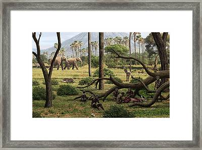 Homo Habilis Hunters Framed Print by Mauricio Anton