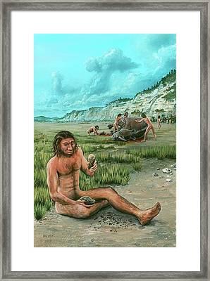 Homo Heidelbergensis Creating A Flint Axe Framed Print by Richard Bizley