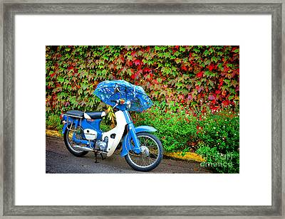 Honda With Umbrella Framed Print by Olivier Le Queinec