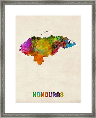 Honduras Watercolor Map Framed Print by Michael Tompsett